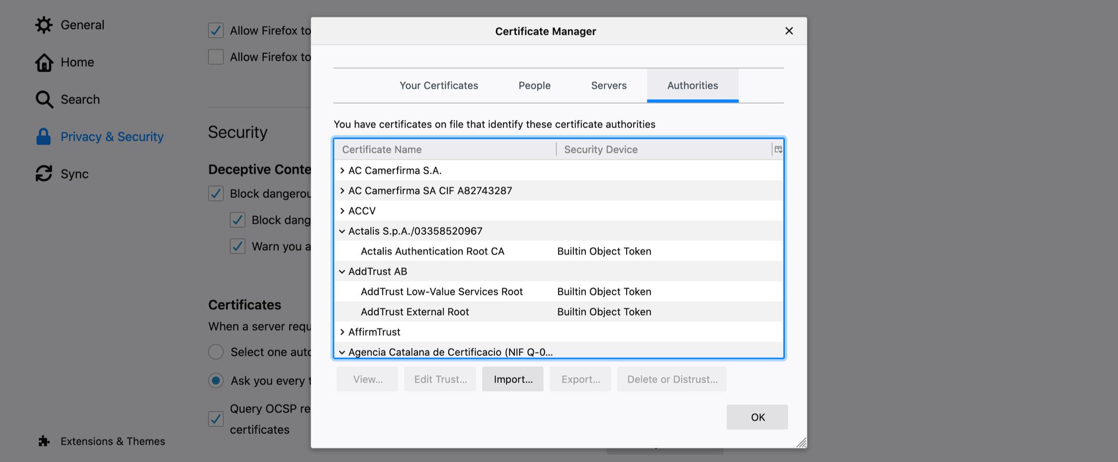 Správca certifikátov Firefox