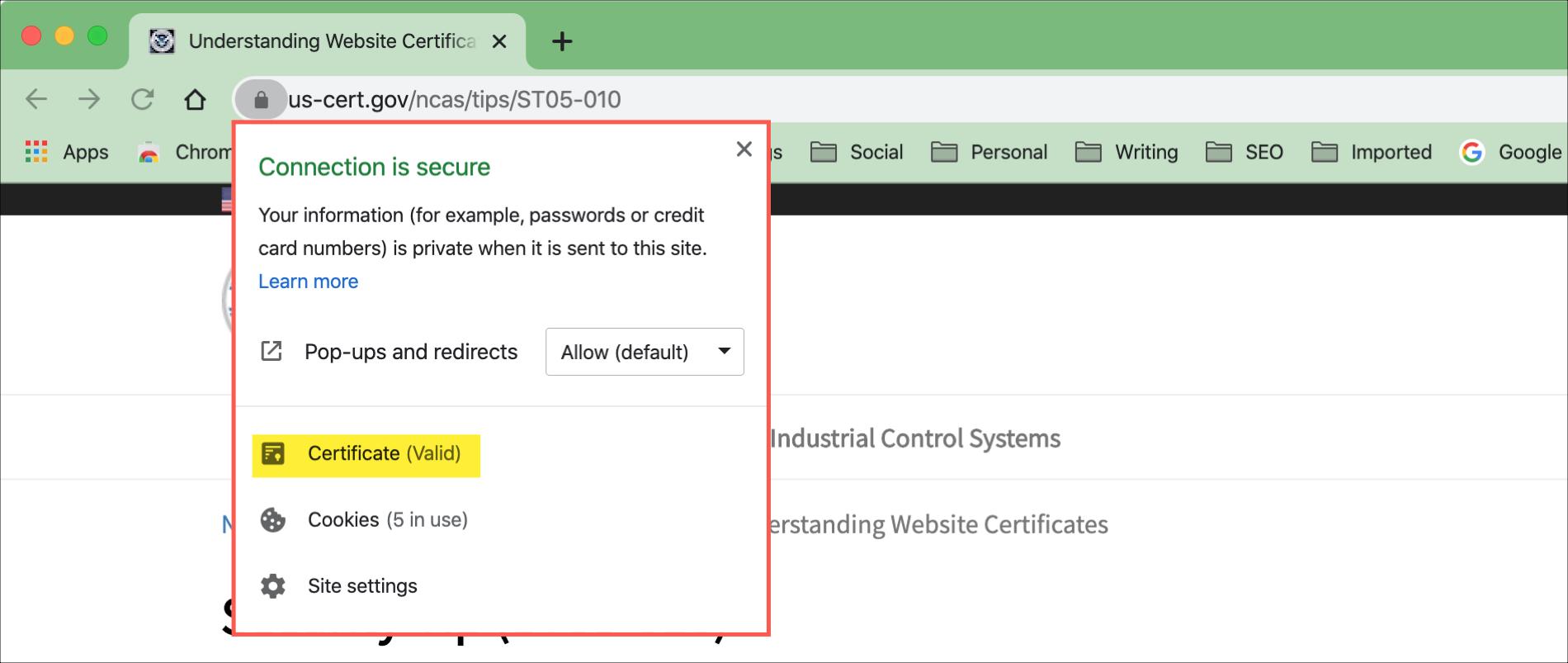 Kliknite na položku Informácie o visiacom zámku Chrome