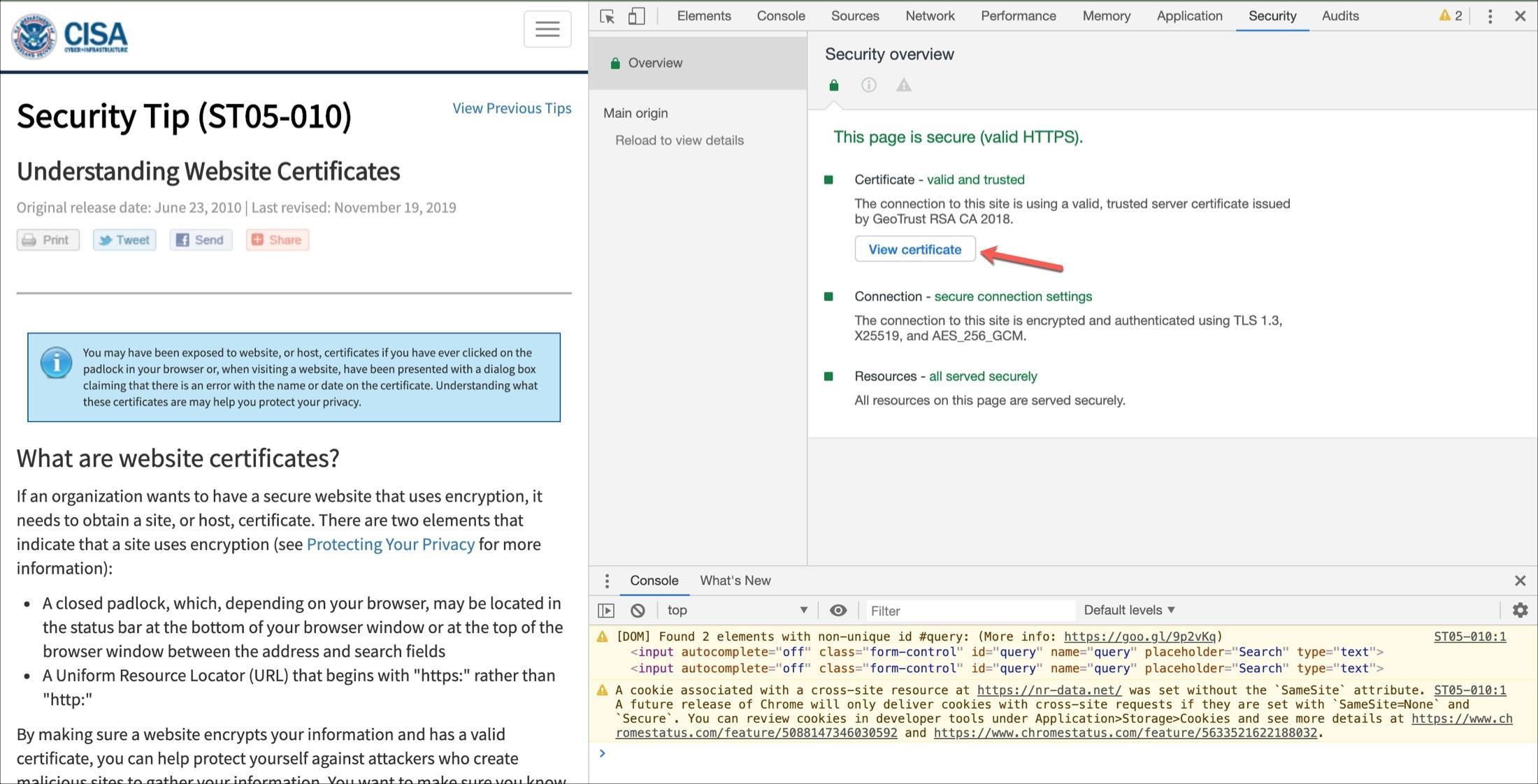 Certifikát prehliadača Chrome Zobraziť
