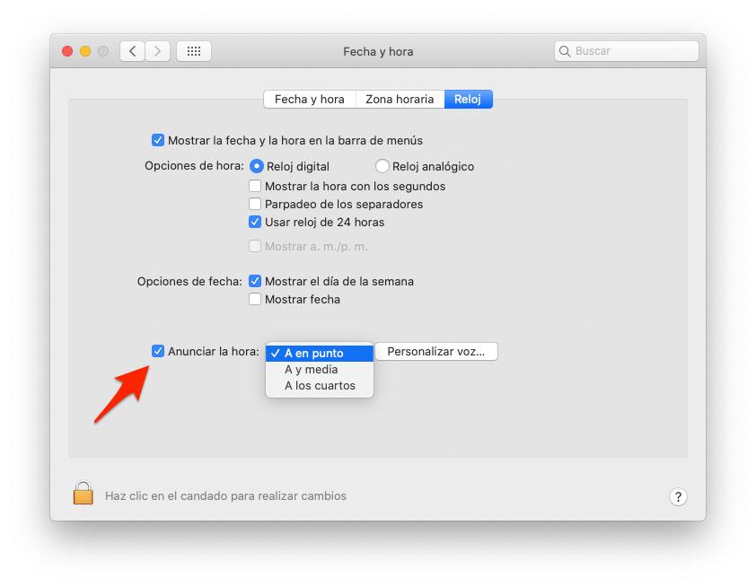 أعلن عن الوقت على Mac