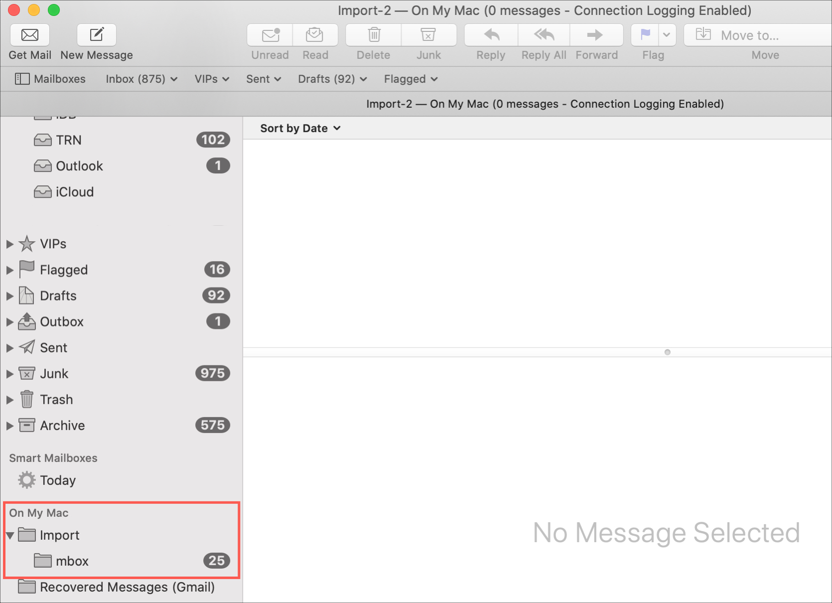Mac Importujte poštové schránky