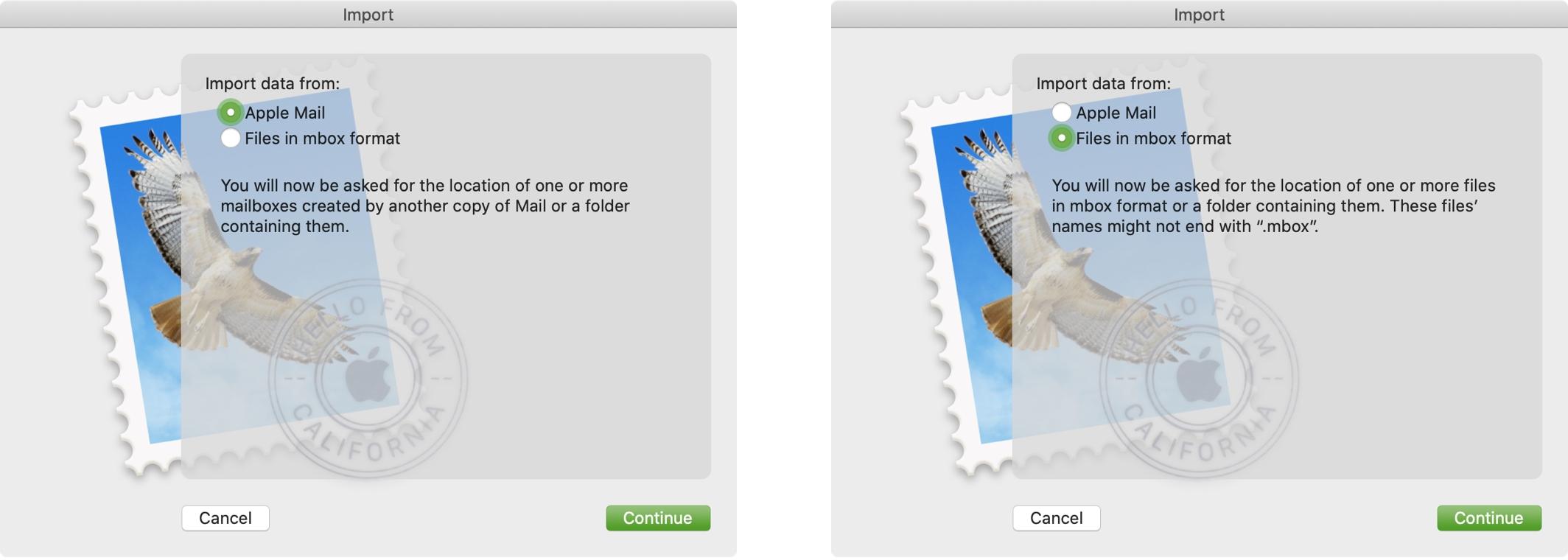 Možnosti importu poštovej schránky Mac
