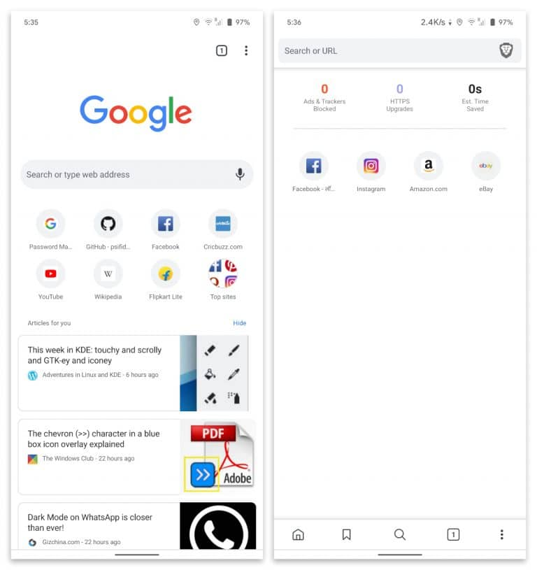 Navegador valiente vs interfaz de Google Chrome androide