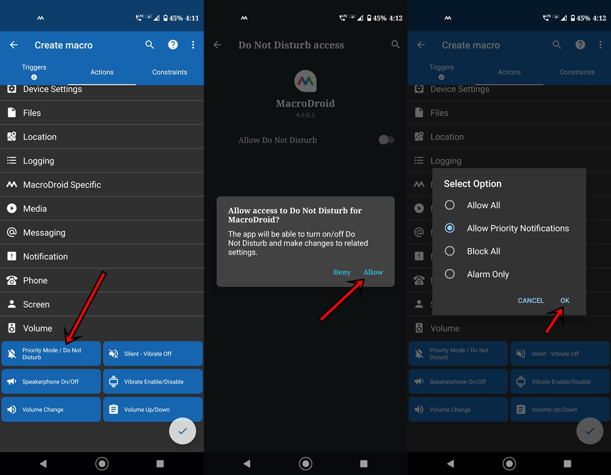 disable notification actions