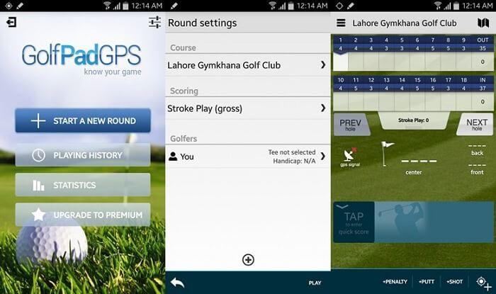 Interfaz de usuario GPS de golf
