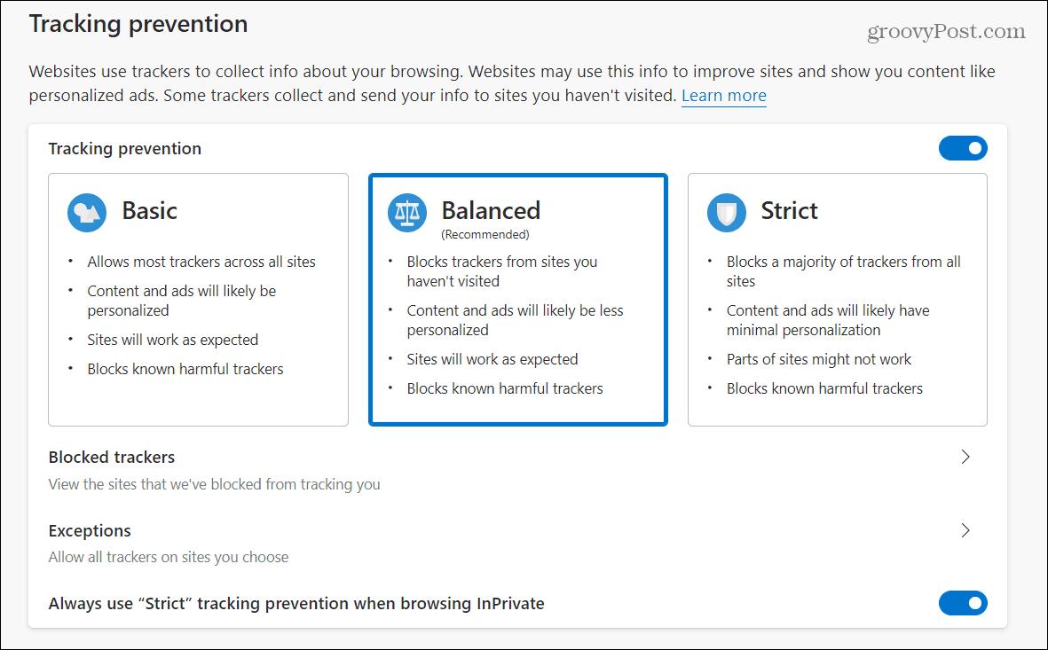 Microsoft Edge-də izləmə qarşısının alınmasını necə idarə etmək olar 1