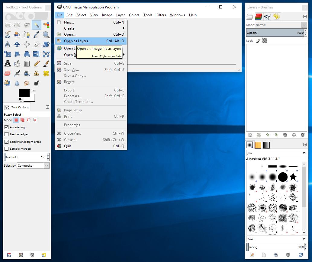 Kuinka tehdä läpinäkyvä kuvatausta GIMP: ssä
