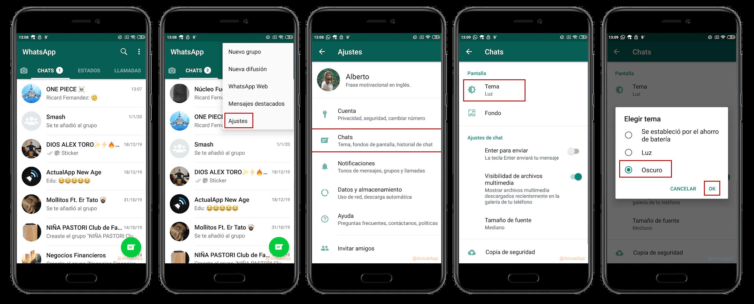 Qaranlıq rejim WhatsApp Android Beta