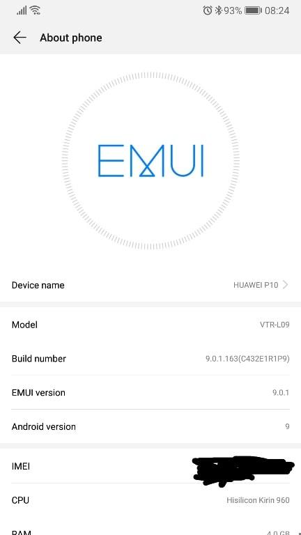 huawei p10 android p emui 9