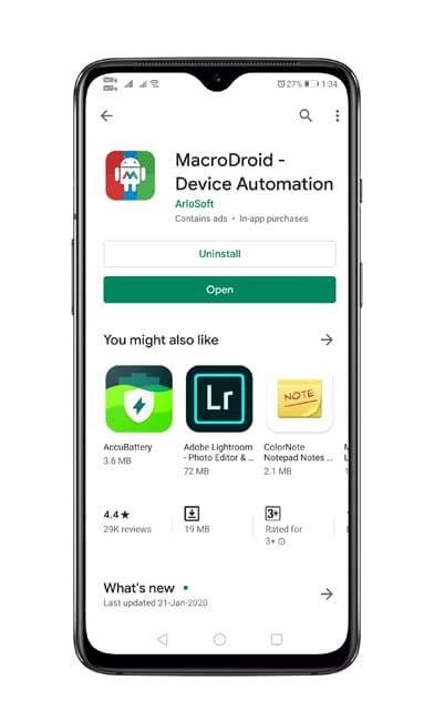 Instal aplikasi MacroDroid
