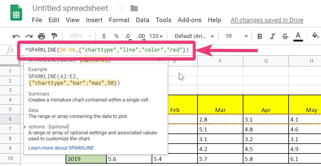 Sparklines Excel və Vərəq 140