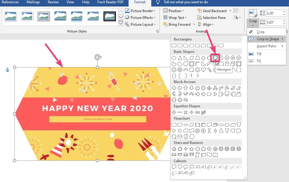 Hexagon Memotong gambar dalam MS Word