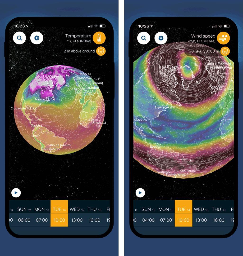 Bir 3D kürəsindəki havanı görüntüləyin və iOS üçün Ventusky ilə iqlim dəyişikliyini izləyin 3