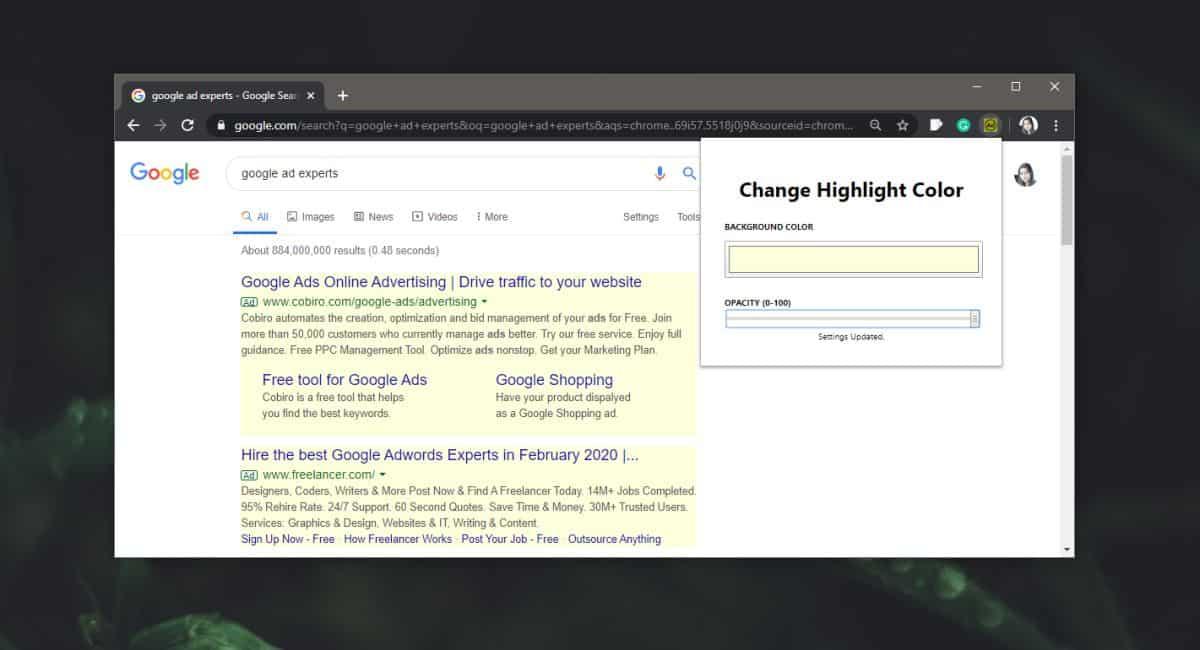 Cómo resaltar anuncios en las páginas de resultados de búsqueda de Google en Chrome 1