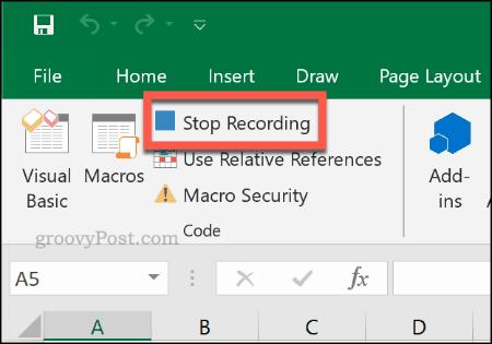 Tombol Stop Recording untuk menghentikan rekaman makro di Excel