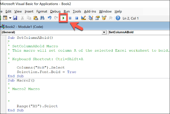Mengedit makro Excel di editor Office VBA
