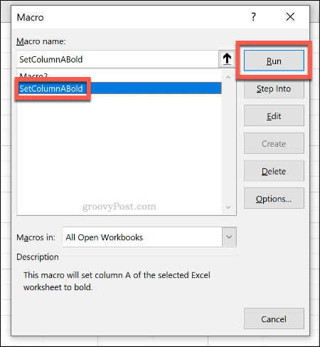 Menu pemilihan makro untuk menjalankan makro di Excel