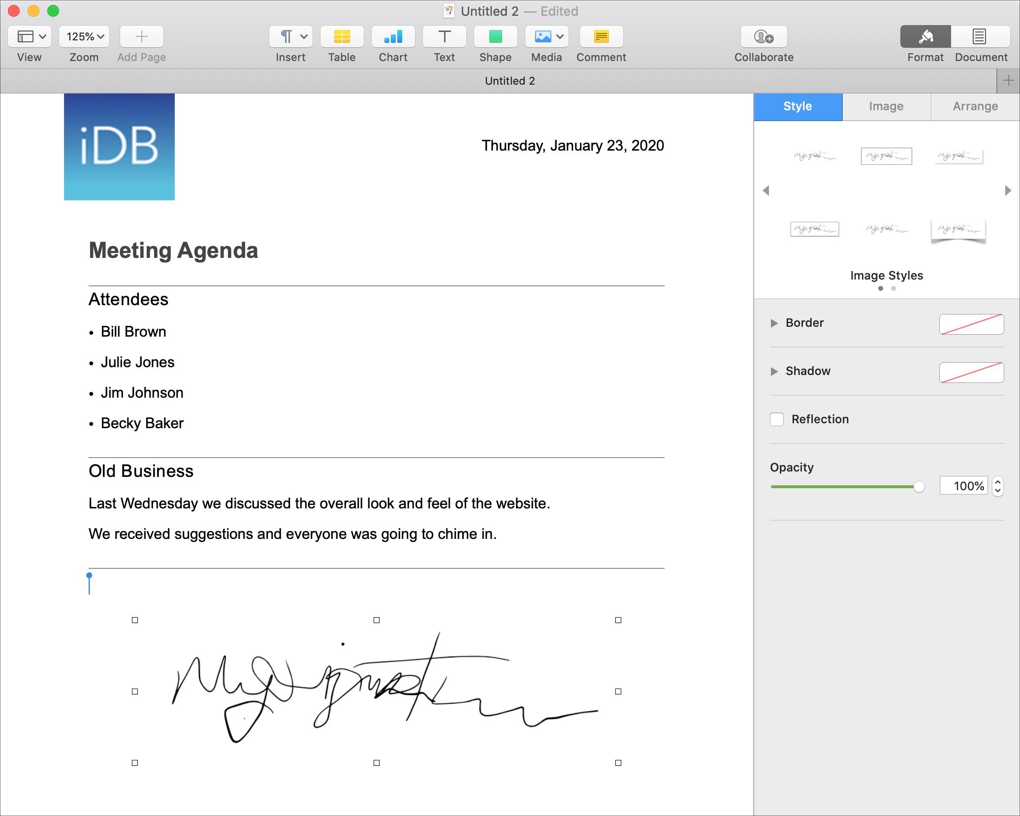 Mac imza görüntü səhifəsini formatlayın