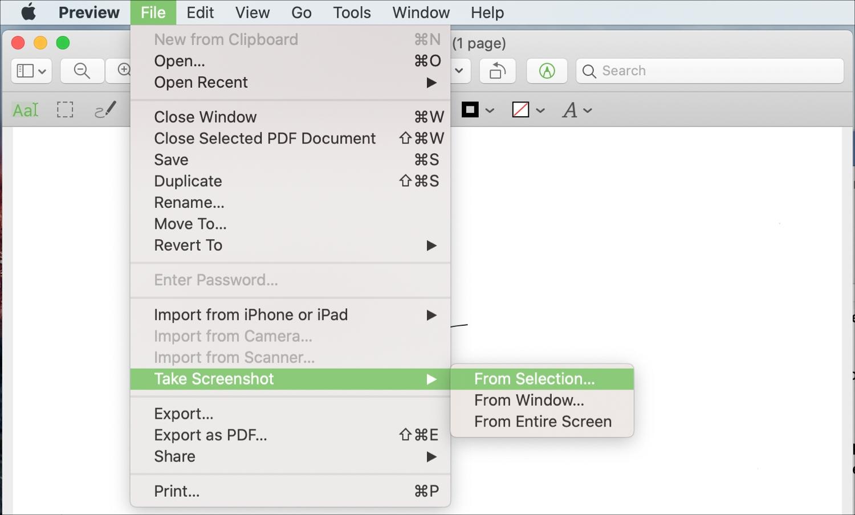 Preview Mac Seçiminin ekran görüntüsünü çəkin