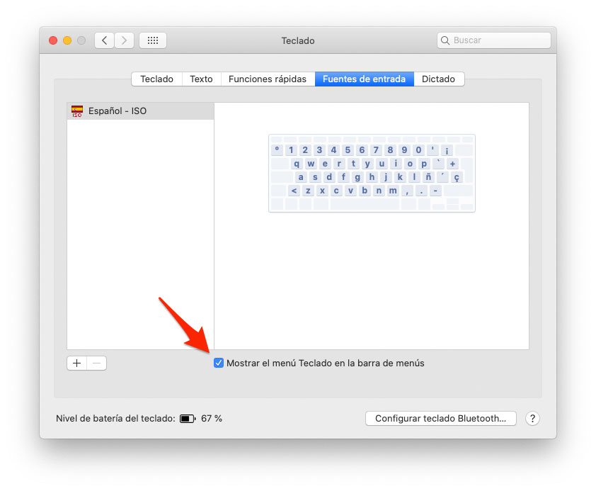 Mostrar menu do teclado no Mac
