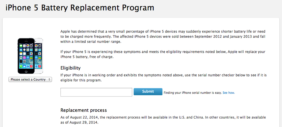 Apple  reemplazar la batería del iPhone 5 con un problema de carga 3