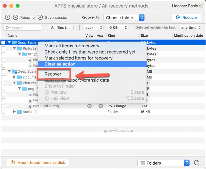 Palauta poistetut tiedostot Disk Drill -sovelluksesta macOS: lla