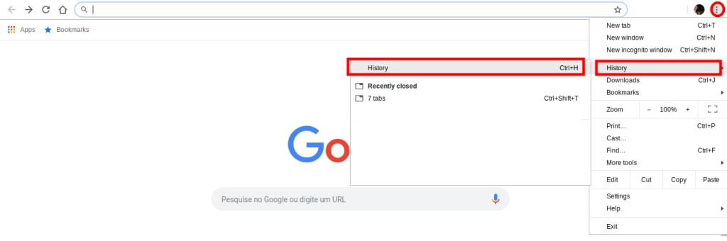 Acceso Chrome e ingrese su historial de navegación