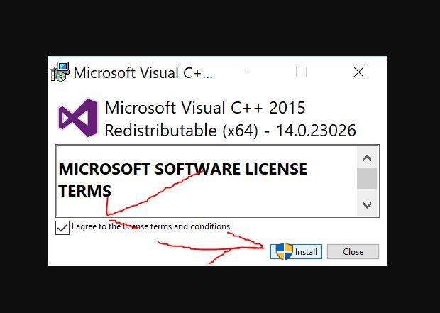 VC5 quraşdırın (Visual C ++ Visual Studio üçün yenidən bölüşdürülə bilər)