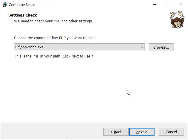 Bəstəkar üçün PHP.exe faylının yolu