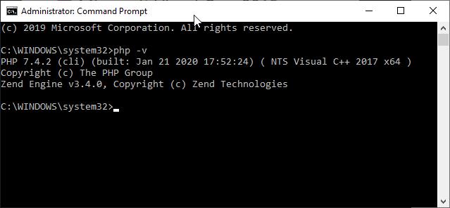 Simvolu vasitəsilə PHP quraşdırılmasını yoxlayın sistema