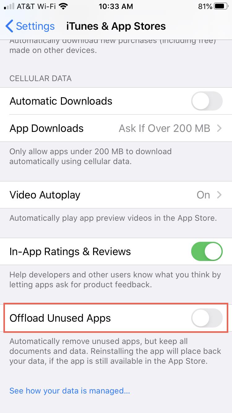 Disable Unmount unused iPhone apps