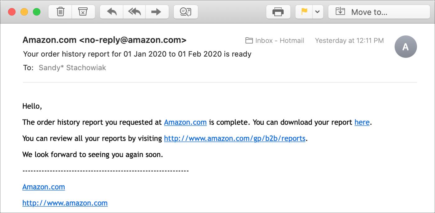 Amazon                Yêu cầu báo cáo Báo cáo lịch sử qua email