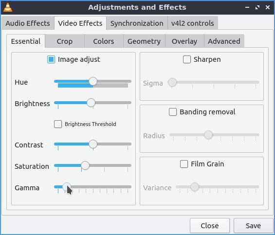 Video VLC Brillo mejorado del contraste gamma