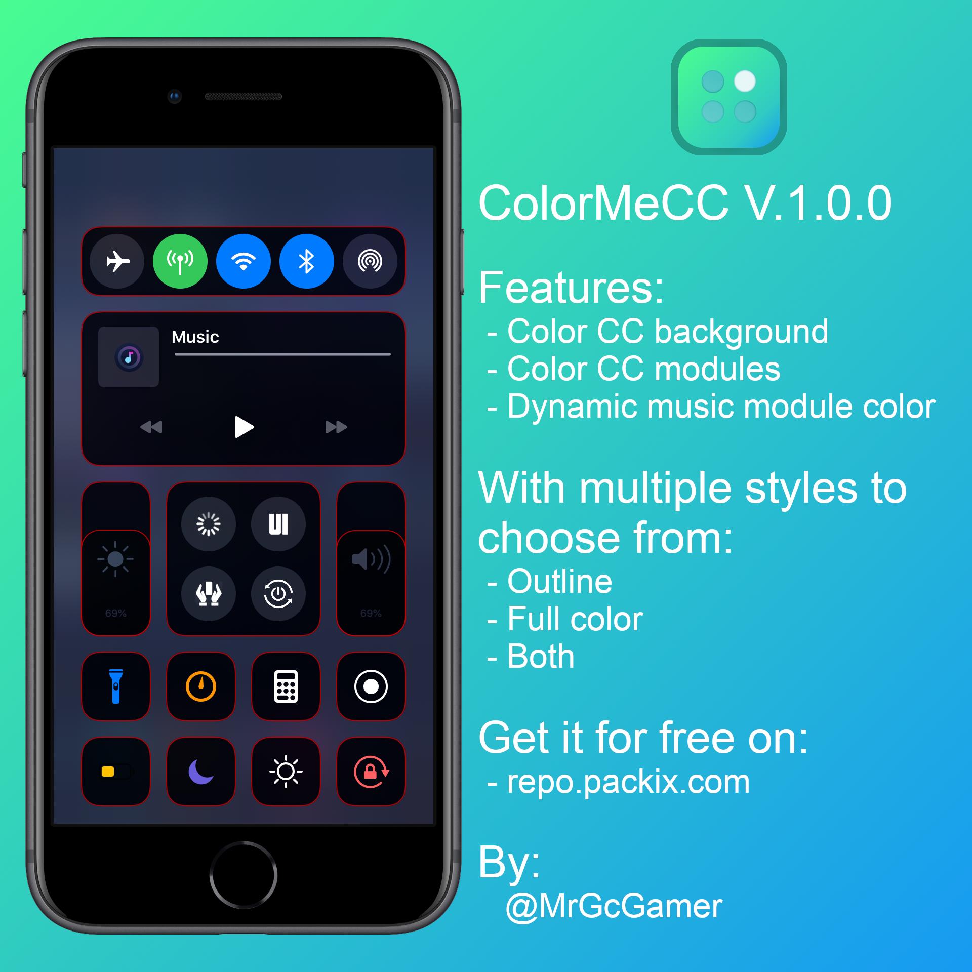 ColorMeCC, iOS İdarəetmə Mərkəzini pulsuz rəngləndirməyə imkan verir 3