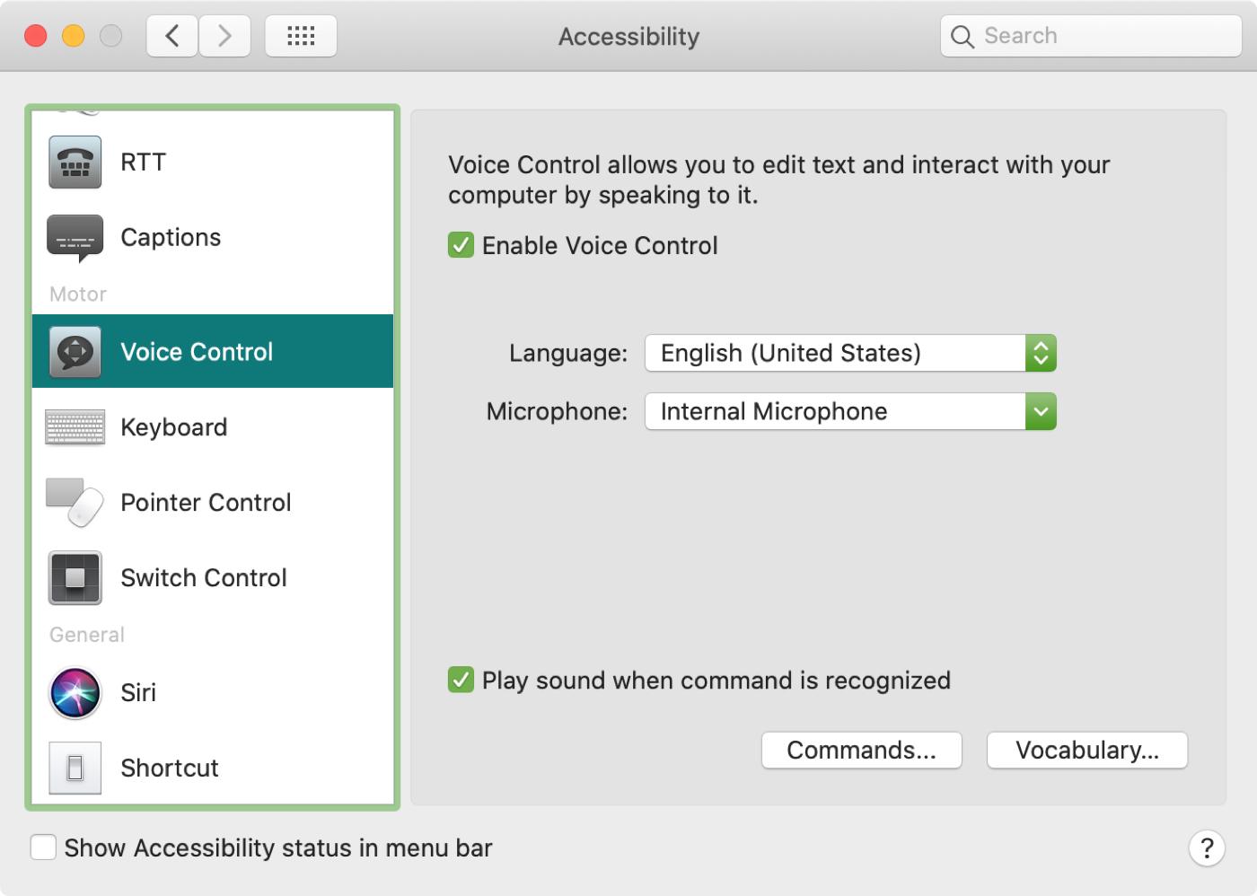 Comandos de vocabulario de preferencias de control de voz de Mac