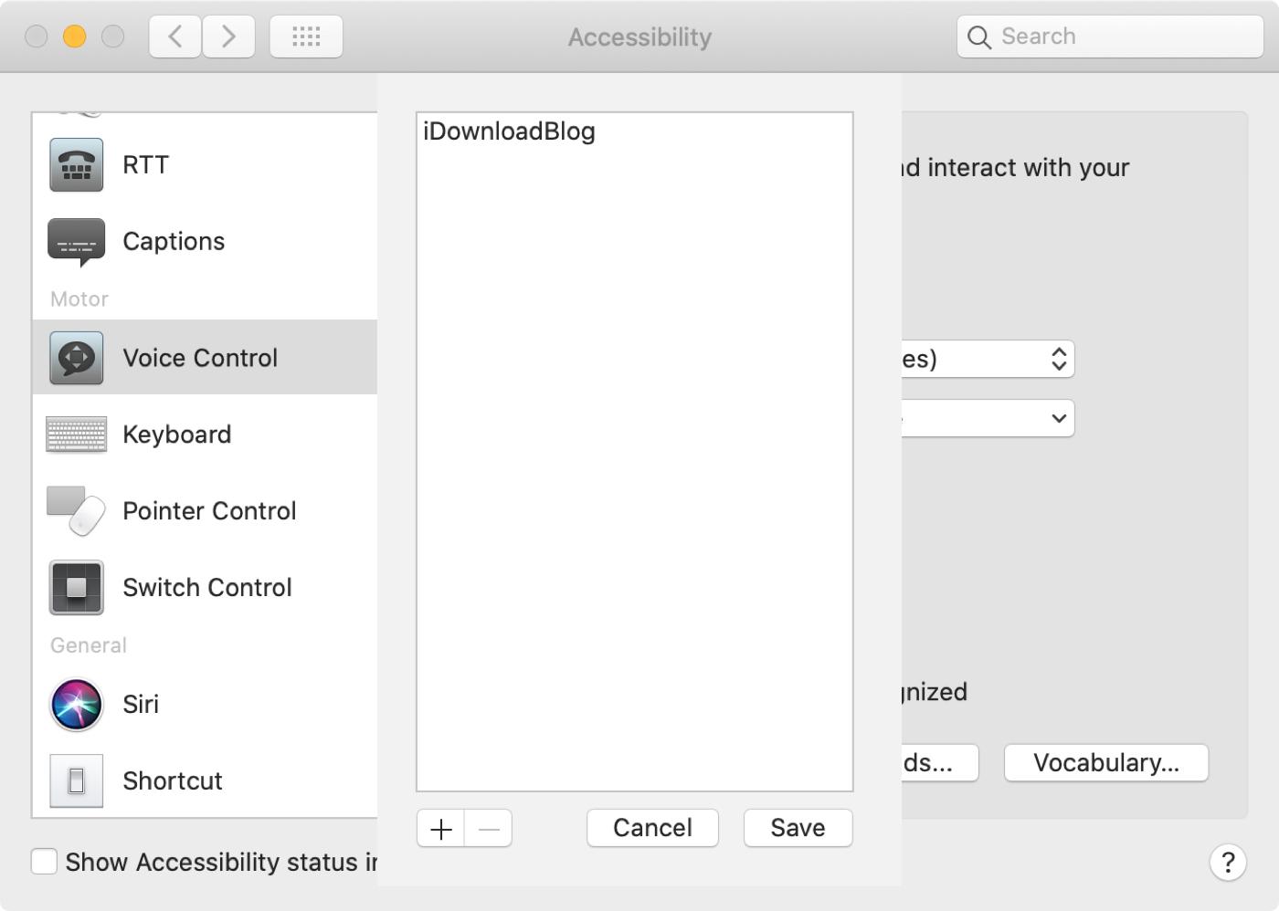 Lista de Mac Vocabulario Preferencias de control de voz