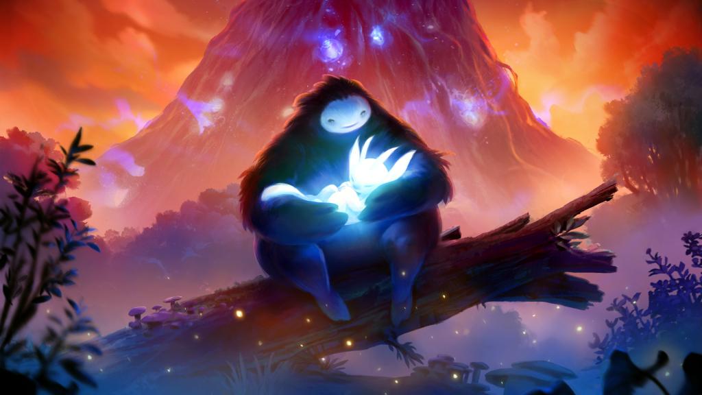 Layar game independen dengan karakter Ori dan Naru di hutan.