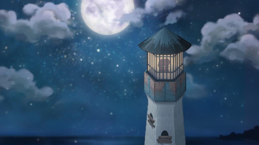Layar game independen To The Moon, di mana siluet pasangan muncul di dalam menara di bawah sinar bulan