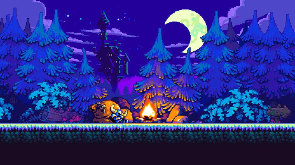 Layar Shovel Kinght menunjukkan karakter utama sedang beristirahat di dekat api unggun di hutan