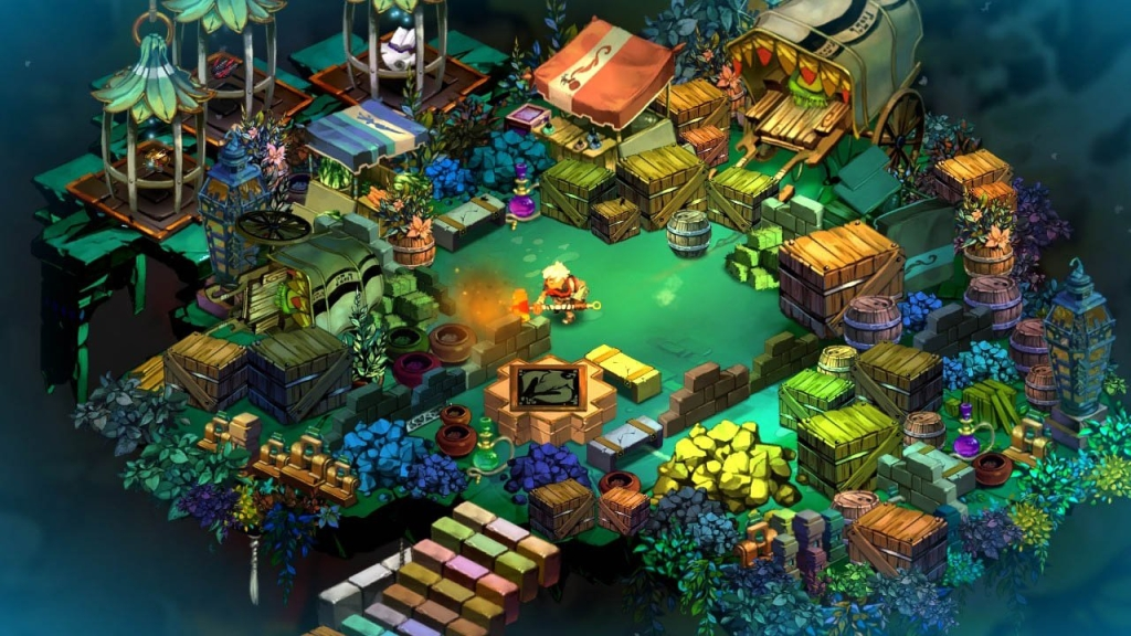 Layar Bastion dengan karakter di tengah-tengah desa kecil