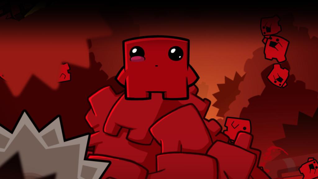 Layar Super Meat Boy, salah satu game indies dalam daftar, dengan potongan-potongan kecil daging yang digambar dengan fitur seperti anak kecil