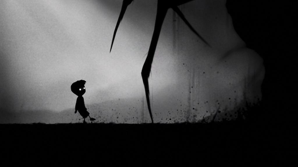 Layar Limbo dengan tampilan suram dan seorang anak lelaki berjalan di sebuah lanskap