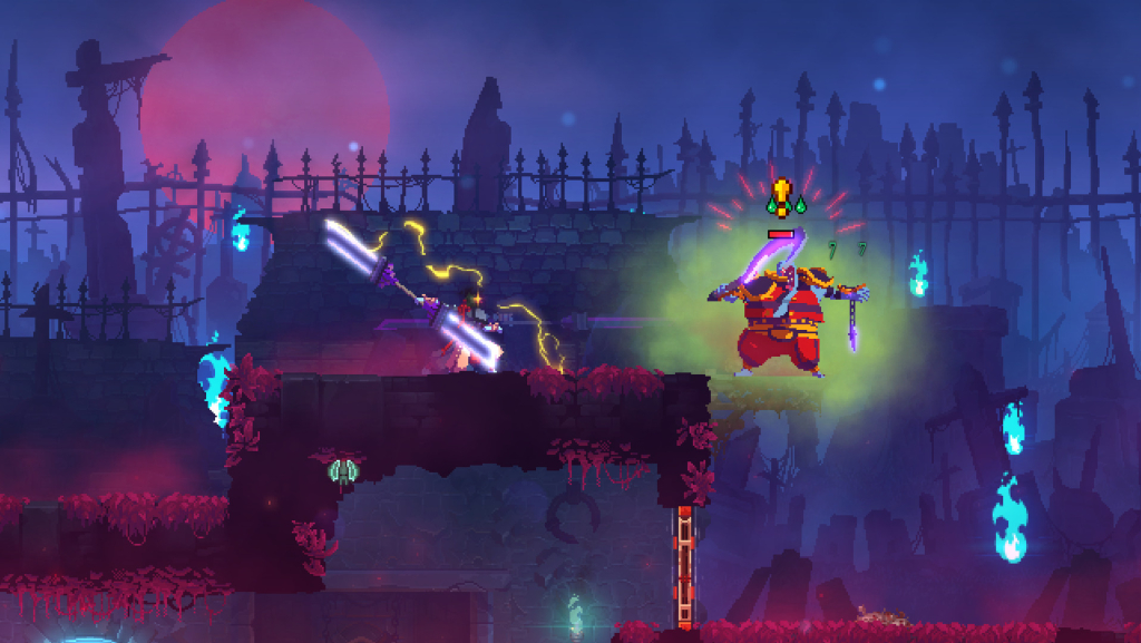 Layar Dead Cells menunjukkan pertempuran antara protagonis dan musuh di lingkungan luar pada malam hari dengan lampu di sekitarnya