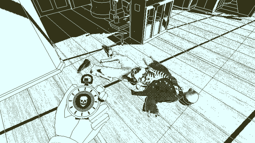 Gambar di mana tangan karakter utama dari permainan Return of the Obra Dinn memegang objek seperti jam di sebelah tubuh yang membusuk di dalam kapal