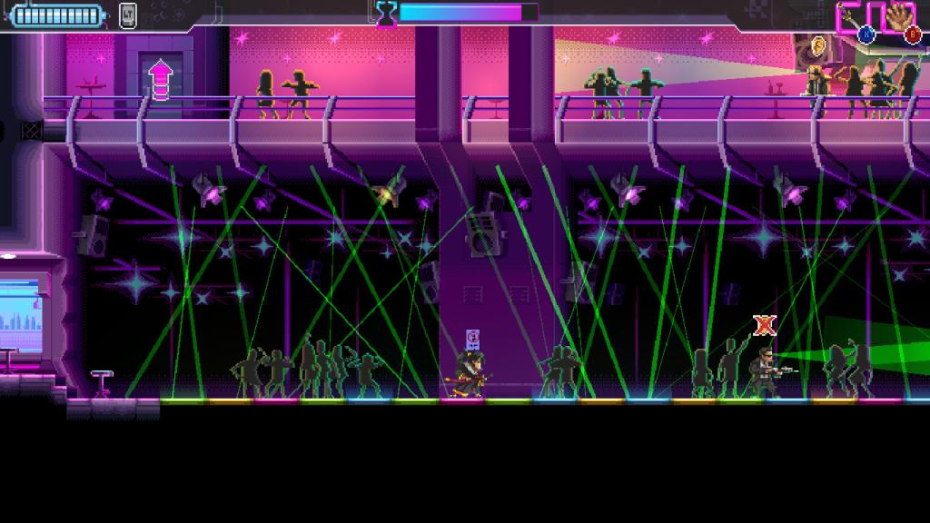 Gambar permainan indie Katana Zero dari saat protagonis memperlambat waktu