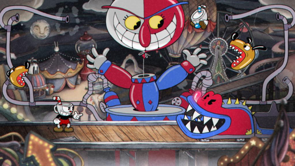 Kanvas piala dengan adegan penuh boneka mengancam di taman hiburan