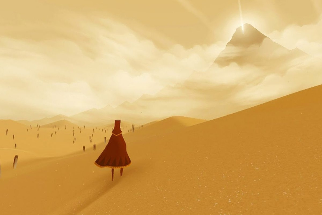 Layar Journey di mana karakter berada di punggungnya melihat gurun