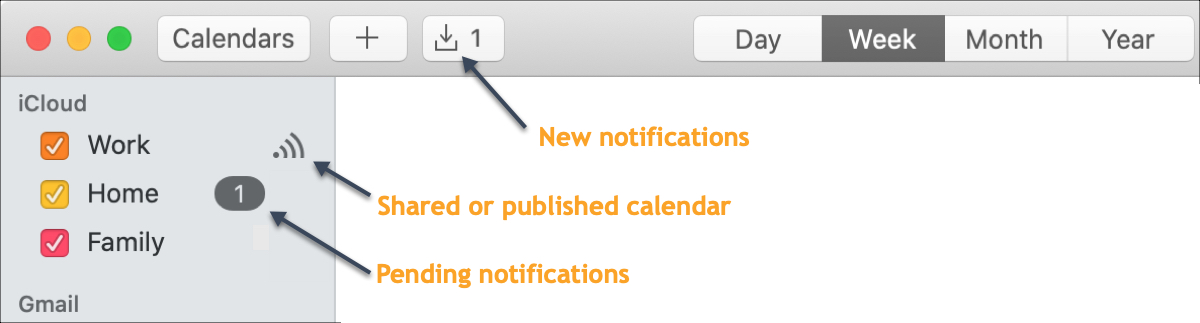Shared Mac notification calendar
