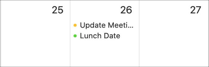 Mac calendar event