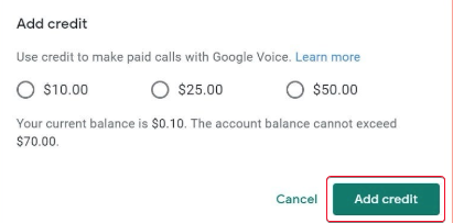 Google Voice hesabına necə kredit əlavə etmək olar 2